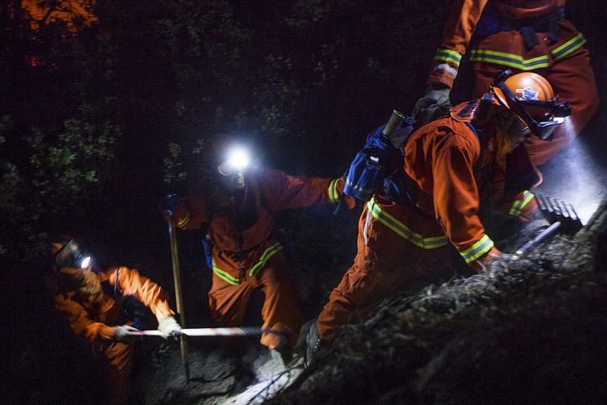 The McCain inmate crew out of San Diego struggles to cut a fire line on a steep slope on the Rim Fire near Buck Meadows, California, on Aug 24, 2013. A fast-moving wildfire on the edge of Yosemite National Park has forced the closure of two more area