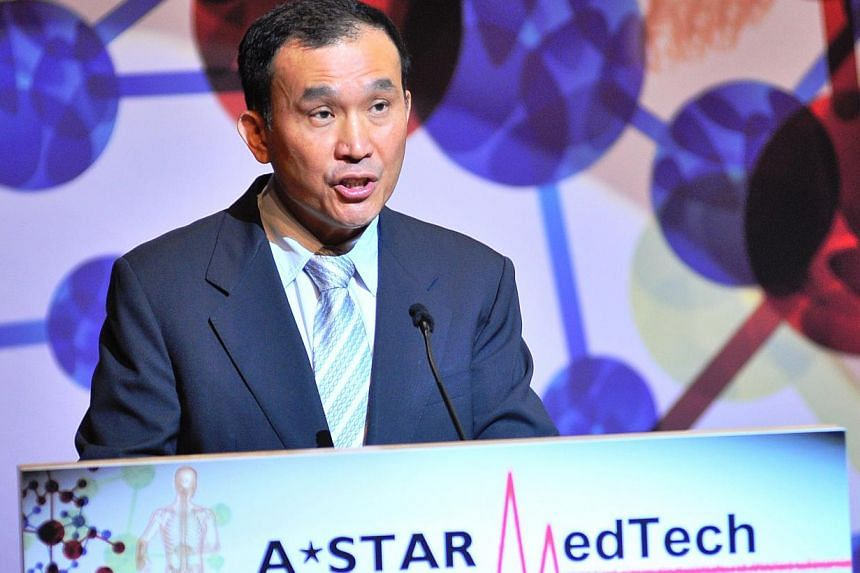 Chairman of A*Star, Mr Lim Chuan Poh, gives his welcome speech at the MedTech Convention 2013. -- PHOTO: A*STAR