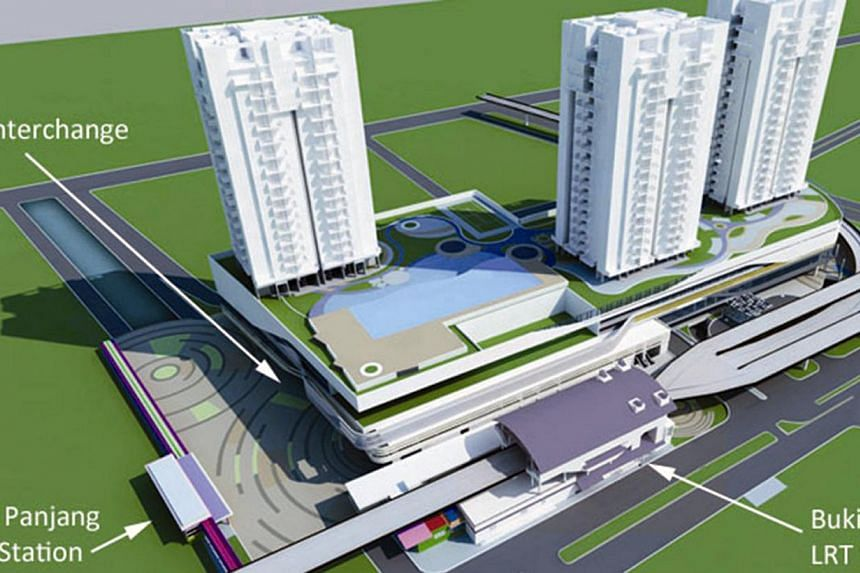 Artist's impression of the upcoming Bukit Panjang integrated transport hub. Bukit Panjang residents in the Senja estate will get an MRT entrance at their doorstep when the Downtown Line Stage 2 opens for service. -- FILE PHOTO: LTA