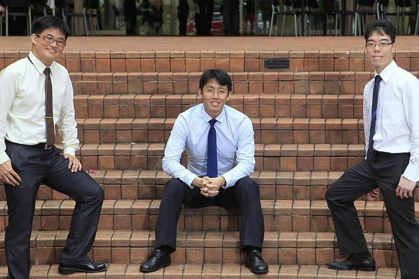 (From left) Mr Daryl Tan, a 22-year-old full-term scholar; Mr Tan Ying Li, a 23-year-old mid-term scholar; and Mr Cheong Qin Zheng, a 24-year-old mid-term scholar, are some of the ninety-seven students who received the Singapore-Industry Scholarship