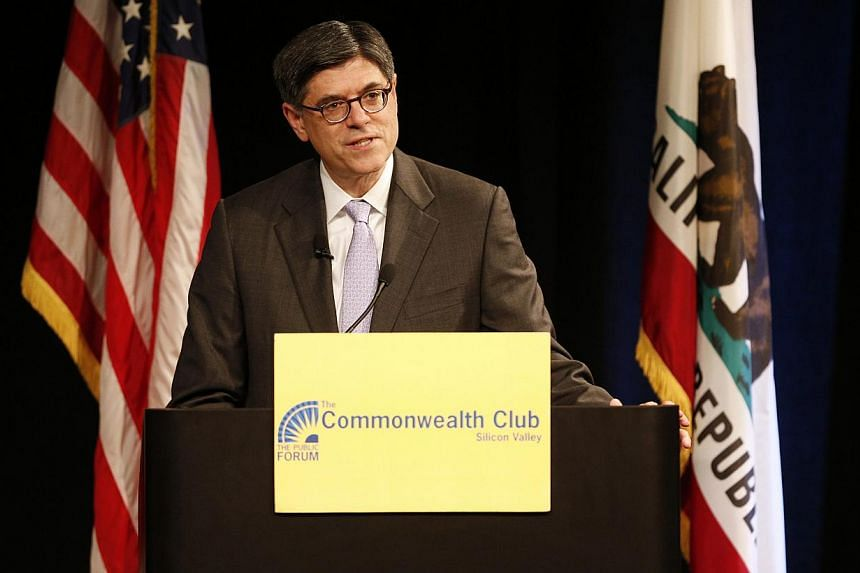 US Treasury Secretary Jacob Lew speaks about the economy at an event hosted by the Commonwealth Club of California at the Computer History Museum in Mountain View, California, on Aug 22, 2013. The US will hit its statutory debt ceiling in mid-October