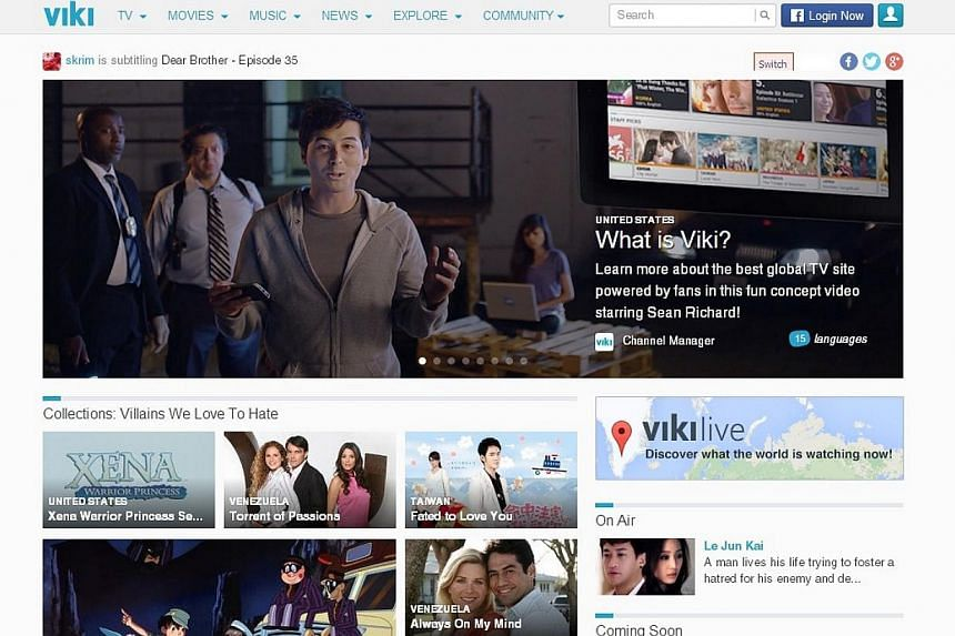 Singapore video-streaming startup Viki.com has clinched the prestigious Technology Pioneer 2014 award by the World Economic Forum for its subtitling technology. -- PHOTO: SCREENGRAB FROM VIKI.COM