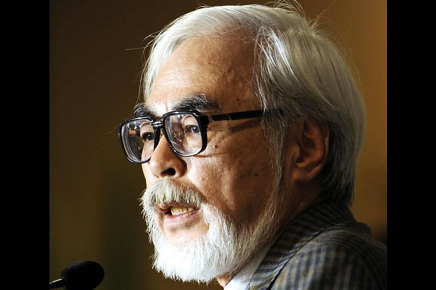 "This file picture taken on Nov 20, 2008 shows Oscar-winning Japanese animator and film director Hayao Miyazaki at a press conference after the release of his new animated movie ""Ponyo on the Cliff by the Sea"" at a theatre in Tokyo. The Japan Society"