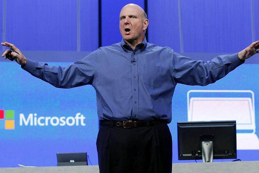 """Microsoft Ex-CEO Steve Ballmer gestures during his keynote address at the Microsoft """"Build"""" conference in San Francisco, California on June 26, 2013. As Mr Ballmer bows out of Microsoft Corp, the guessing game over who will replace him has started wi"""