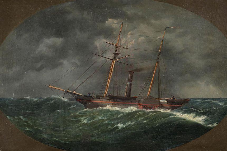 In this photograph of an 1852 painting by W.A.K. Martin, provided on Monday, Aug 26, 2013, by the National Oceanic and Atmospheric Administration, depicts the ship, USCS Robert J. Walker, which sank on June 21, 1860, ten miles off the New Jersey coas
