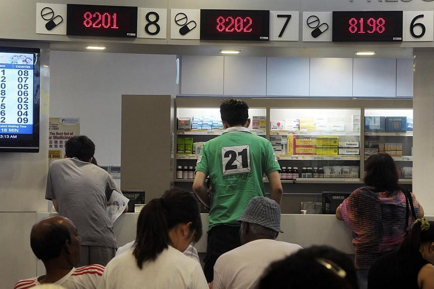 Pharmacy area of Choa Chu Kang Polyclinic. From January, use of Medisave will be extended to pay for five more outpatient treatments and for the first time, two vaccines for adults. -- ST FILE PHOTO: JOSEPH NAIR