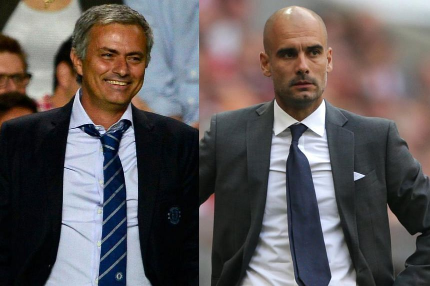 Chelsea manager Jose Mourinho (left) and Bayern Munich manager Pep Guardiola are set to revive their rivalry when their clubs face off in the European Super Cup. -- PHOTOS: REUTERS, AP