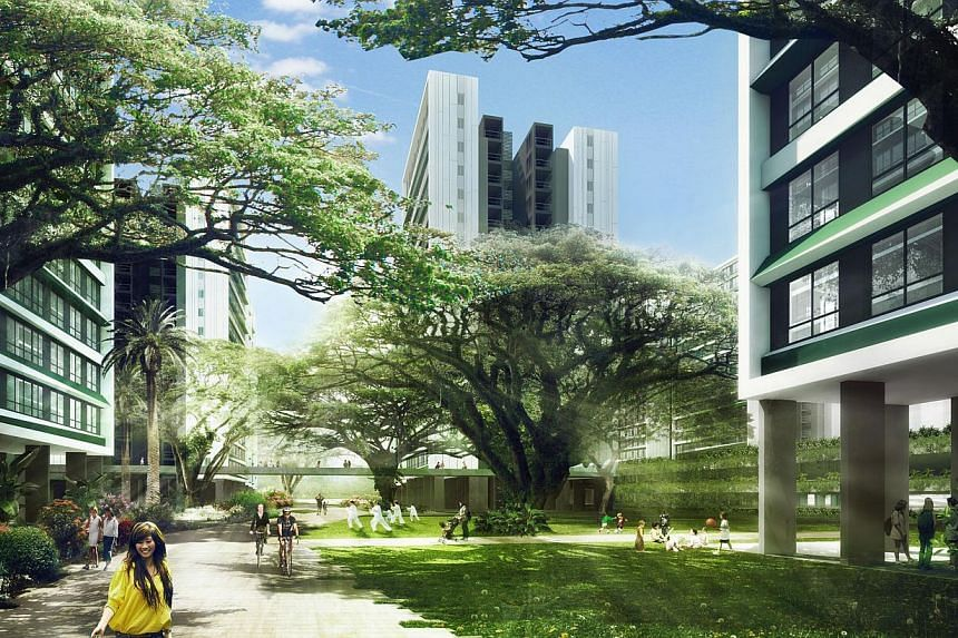 An artist impression of the green canyon view at Tampines North. -- PHOTO: HDB