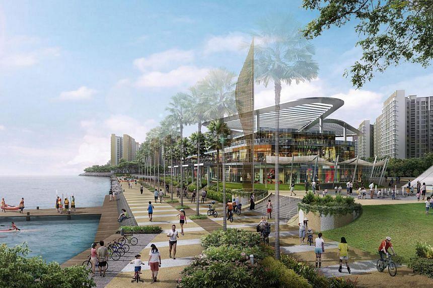 An artist impression of the Waterfront shopping centre at Punggol Matilda. -- PHOTO: HDB