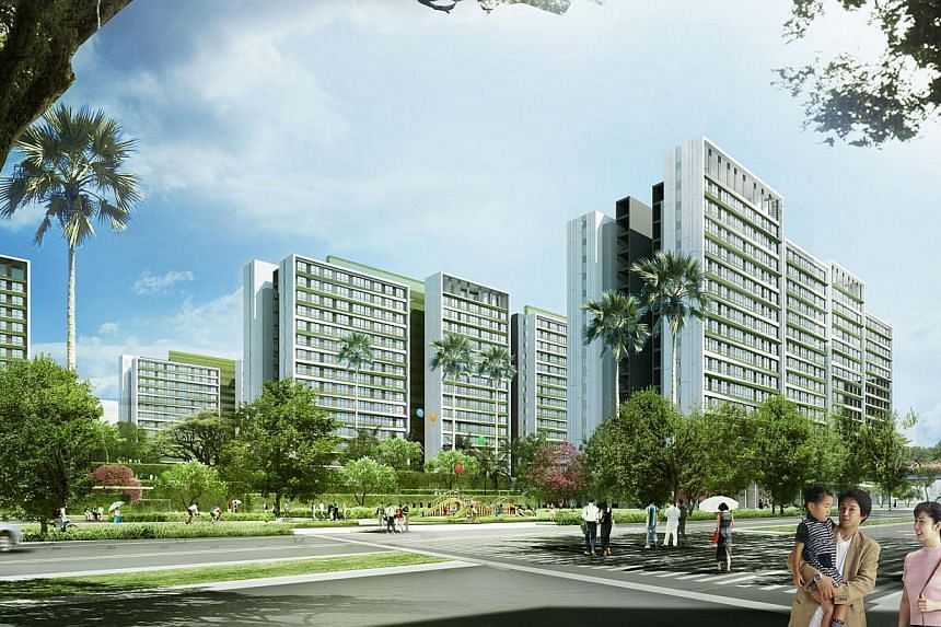 An artist impression of the street view of Tampines North. -- PHOTO: HDB