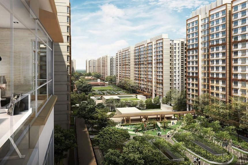 An artist impression of the view from a landscape deck at Punggol Matilda. -- PHOTO: HDB