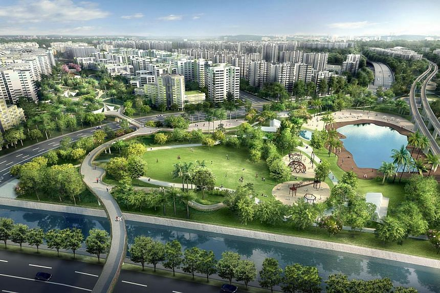 An artist impression of an aerial view of Quarry Park at Tampines North. -- PHOTO: HDB