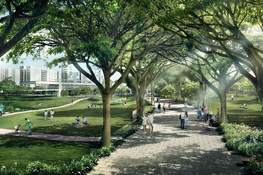 An artist impression of the heritage walk at Bidadari. -- PHOTO: HDB