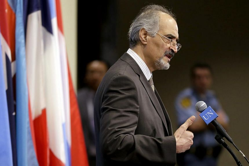 Syrian Ambassador to the United Nations Bashar Ja'afari speaks to reporters after a meeting about Syria at United Nations headquarters on Wednesday, Aug 28, 2013.Syria's UN envoy on Wednesday requested that Secretary-General Ban Ki Moon order a