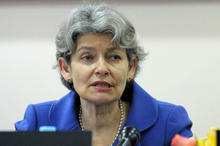 Irina Bokova, director general of UNESCO, speaks during a press conference of the 37th Session of the World Heritage Committee at the Peace Palace in Phnom Penh on June 17, 2013. The United Nations' (UN) cultural organisation on Thursday urged Syria'