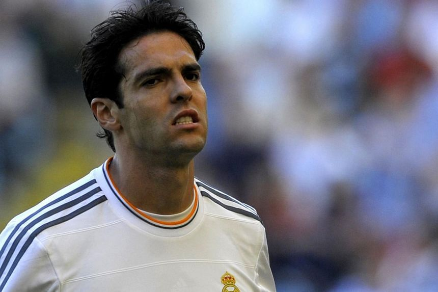 Real Madrid's Brazilian midfielder Kaka reacting after scoring during the Trophy Teresa Herrera football match Deportivo La Coruna vs Real Madrid on Aug 29, 2013 at Riazor stadium in Galicia's La Coruna, north-western Spain. Kaka has told the Spanish
