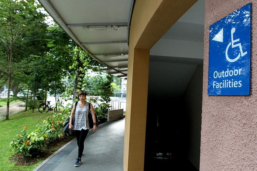 A sign indicating a wheelchair-friendly route to the outdoor facilities in Senja-Cashew CC. The Building and Construction Authorityunveiled on Friday, Aug 30, 2013, a new Code on Accessibility for the Built Environment that includes new provisi