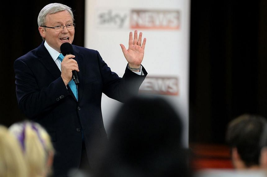 Australian Prime Minister Kevin Rudd speaks during the leader's debate with leader of the opposition Tony Abbott in Sydney on Aug 28, 2013. Mr Rudd on Saturday said he believed the upcoming election would be closer than polls suggest, after a survey