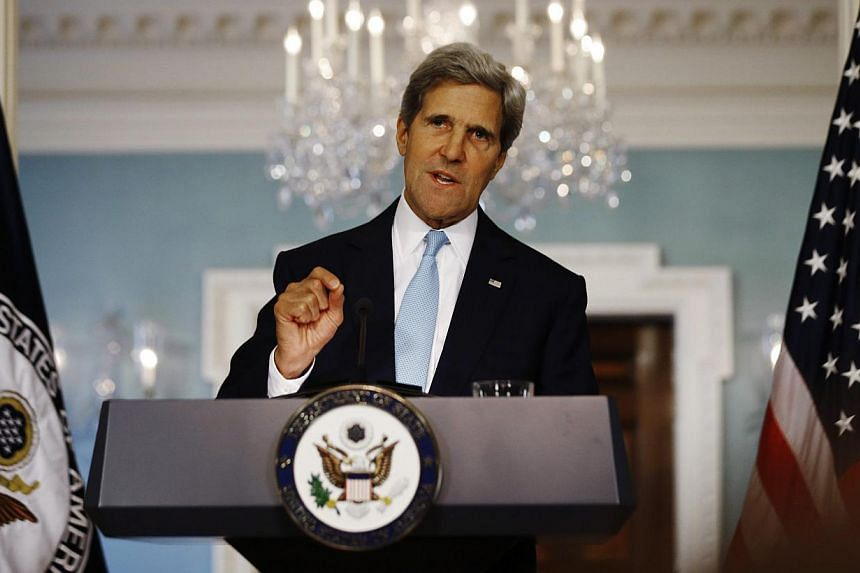 US Secretary of State John Kerry speaks about the situation in Syria at the State Department in Washington on Friday, Aug 30, 2013. MrKerry, Defence Secretary Chuck Hagel, and other senior US national security officials will hold conference cal