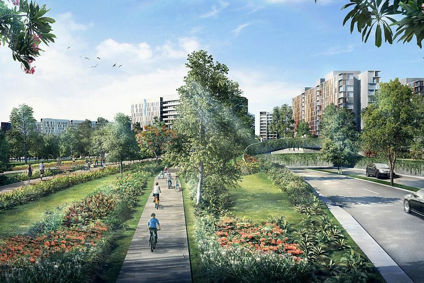 An artist's impression of Bidadari/Linear Park along Bidadari park drive. -- FILE PHOTO: HDB