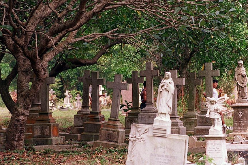 THEN: Bidadari ' meaning 'angel' or 'fairy' in Malay ' had sections for Muslims, Hindus, Singhalese and Christians but burials ended there in 1972. -- ST FILE PHOTO