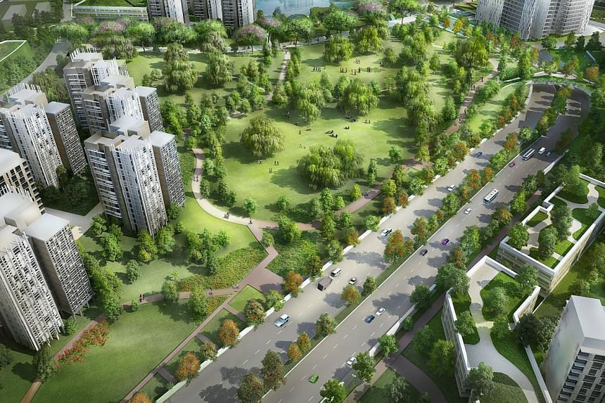THE FUTURE: An artist's impression of the new Bidadari estate. It will have a park one-tenth of its size and a cycling path to serve 11,000 new flats. -- PHOTO: HDB