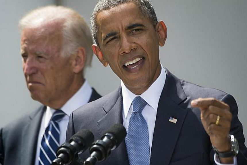 President Barack Obama speaks about Syria from the Rose Garden at the White House in Washington, DC, on Aug 31, 2013, with Vice President Joe Biden.US President Barack Obama and his top aides launched a full-scale political offensive on Sunday
