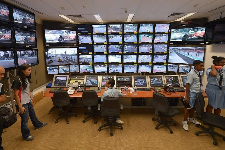 A view of the race control room of Singapore GP.With the 2013 Formula One SingTel Singapore Grand Prix less than three weeks away, race organiser Singapore GP on Monday gave some 16 secondary school students an exclusive behind-the-scenes peek