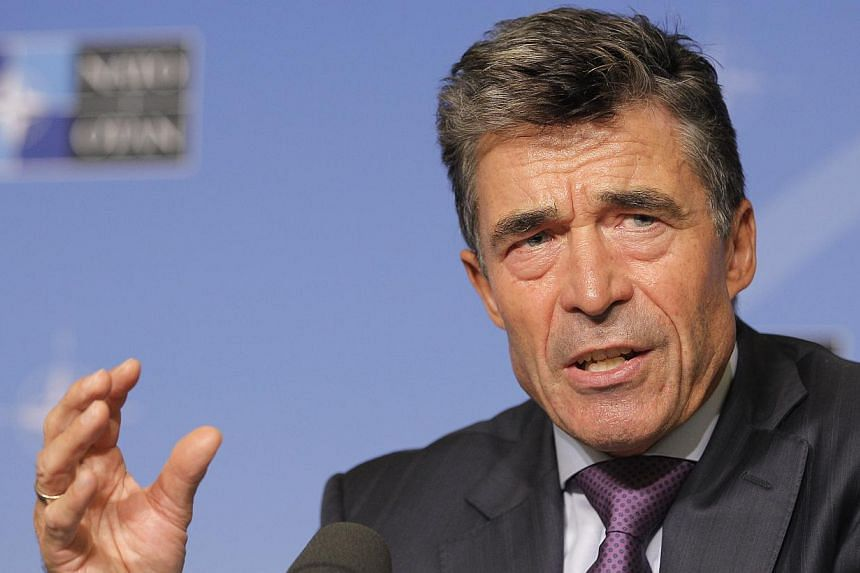 Nato Secretary General Anders Fogh Rasmussen addresses the media, during his monthly briefing at the Residence Palace in Brussels on Monday, Sept 2, 2013. Nato's secretary-general said on Monday he had seen evidence convincing him the Syrian aut