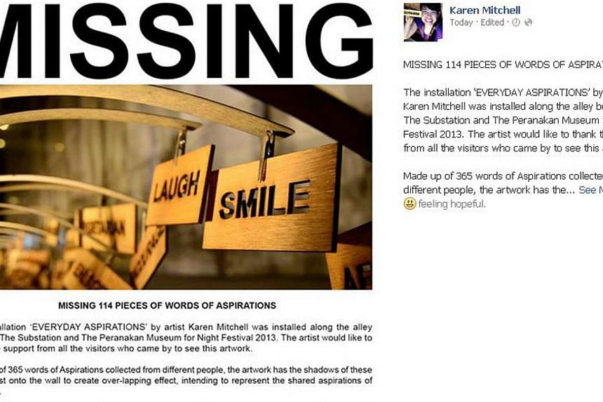 A screengrab of the Facebook appeal by artist Karen Mitchell to return missing pieces of her art installation. -- PHOTO: FACEBOOK