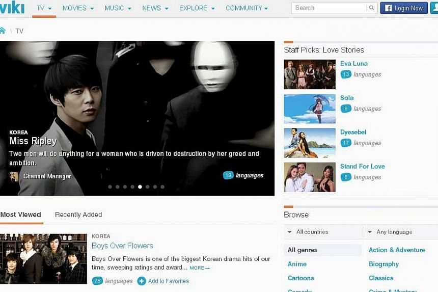 Singapore-based video streaming platform Viki is set to be purchased by a Japanese internet giant in what is believed to be the biggest acquitision of a local start-up in recent history. -- SCREEN GRAB: VIKI.COM/TV