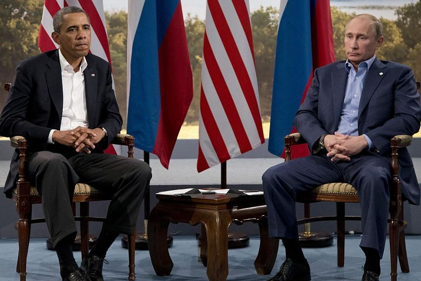 President Barack Obama meets with Russian President Vladimir Putin (right) in Enniskillen, Northern Ireland, on Monday, June 17, 2013. Sharp policy clashes over fugitive leaker Edward Snowden and Syria may be exacerbated by apparent personal an