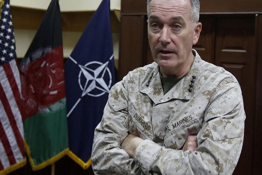 "International Security Assistance Force (ISAF) commander General Joseph Dunford speaks during an interview in Kabul on Aug 13, 2013. Mr Dunford has warned that the current casualty rates suffered by the Afghan army and police force are ""unsustainable"