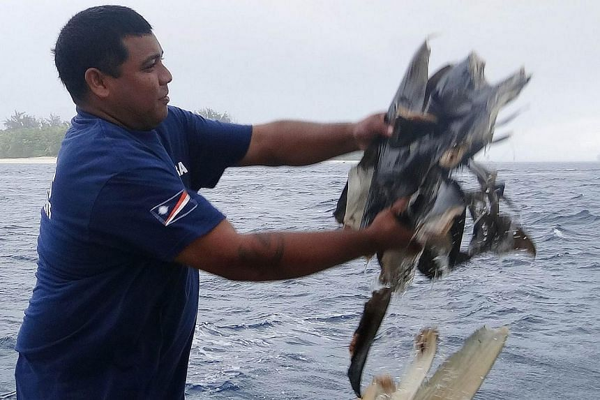 Mr Kyle Aliven, an officer of Marshall Islands Marine Resources Authority (MIMRA), disposes of shark fins into the sea in Majuro on Sept 3, 2013. -- PHOTO: AFP