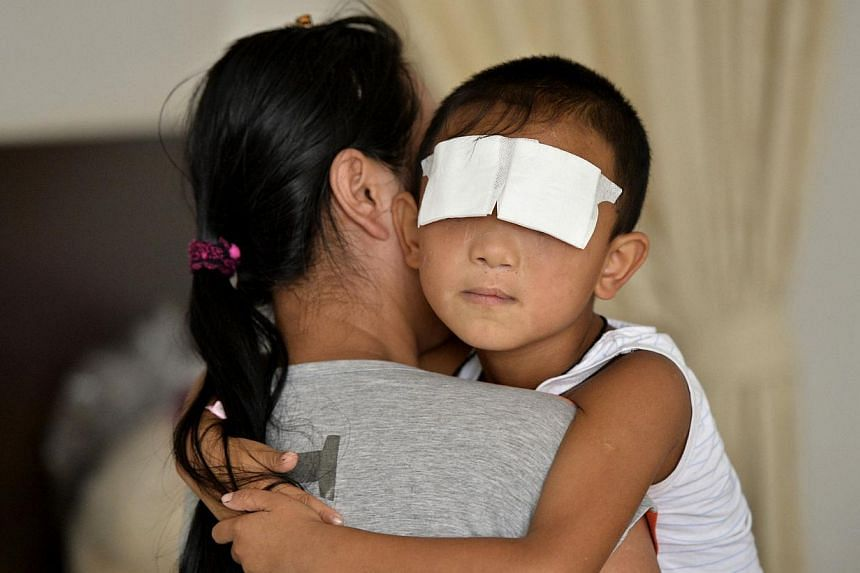 "A six-year-old boy, Guo Bin (above), whose eyes were gouged out, is held by his mother at a hospital in Taiyuan, Shanxi province, Sept 4, 2013. Hong Kong-based eye expert Dennis Lam has offered Guo Bin ""electronic eyes"". -- PHOTO: REUTERS"
