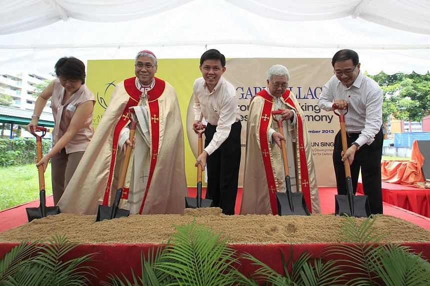 (From left) Ms Janet Ang, who chairs the Agape Village Steering Committee, Catholic Archbishop William Goh, Minister for Social and Family Development Chan Chun Sing, Catholic Archbishop Emeritus Nicholas Chia, and Mr George Lim, chairman of Caritas