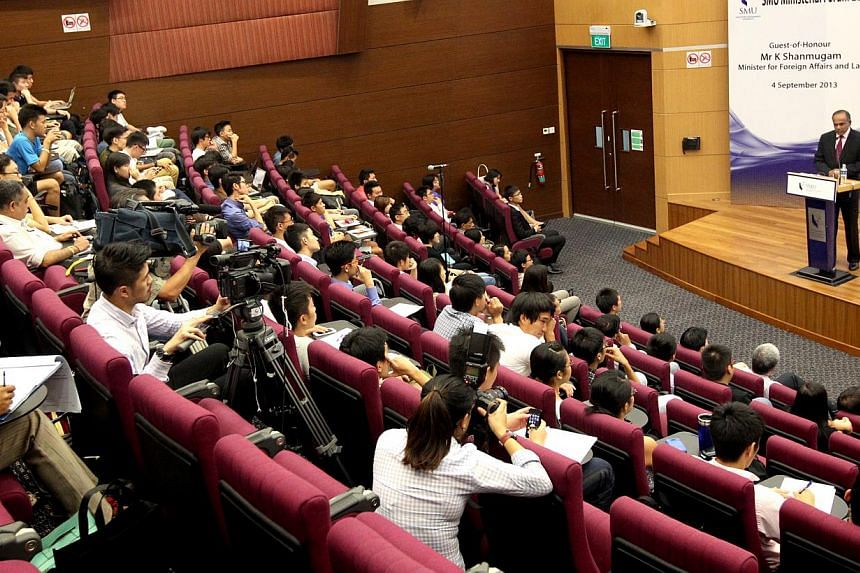 Mr Shanmugam speaking at the SMU Ministerial Forum last night. He cited demographic trends, rising costs and external competition as factors that could cause Singapore to fall behind its Asean neighbours.