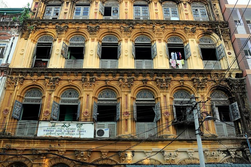 Amid rocketing prices, old apartments such as these in downtown Yangon are the only option for many foreigners, but forget the frills. -- ST PHOTO: NIRMAL GHOSH