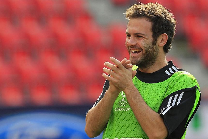 Juan Mata of Chelsea attends his team practice session in Prague, on Aug 29, 2013. Although Mata has featured in only one of Chelsea's four games this season, the Spain midfielder said on Thursday he was happy at the London club and his future w