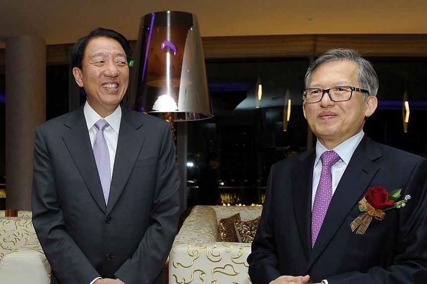 Deputy Prime MinisterTeo Chee Hean(left) and City Developments (CDL)executive chairman Kwek Leng Bengat W Singapore - Sentosa Cove for CDL's 50th anniversary gala dinner celebration on Friday, Sept 6, 2013. -- PHOTO: CDL