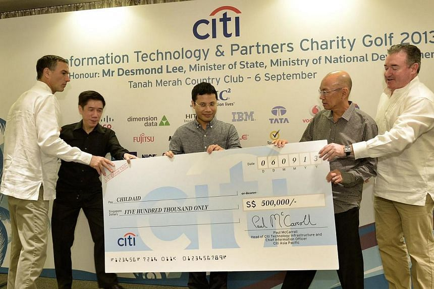 (From left) Mr Michael Zink, Citi head of Asean and Singapore country officer; ChildAid chairman Alvin Tay; Minister of State for National Development Desmond Lee; managing editor of Singapore Press Holding's English and Malay Newspaper Division Han