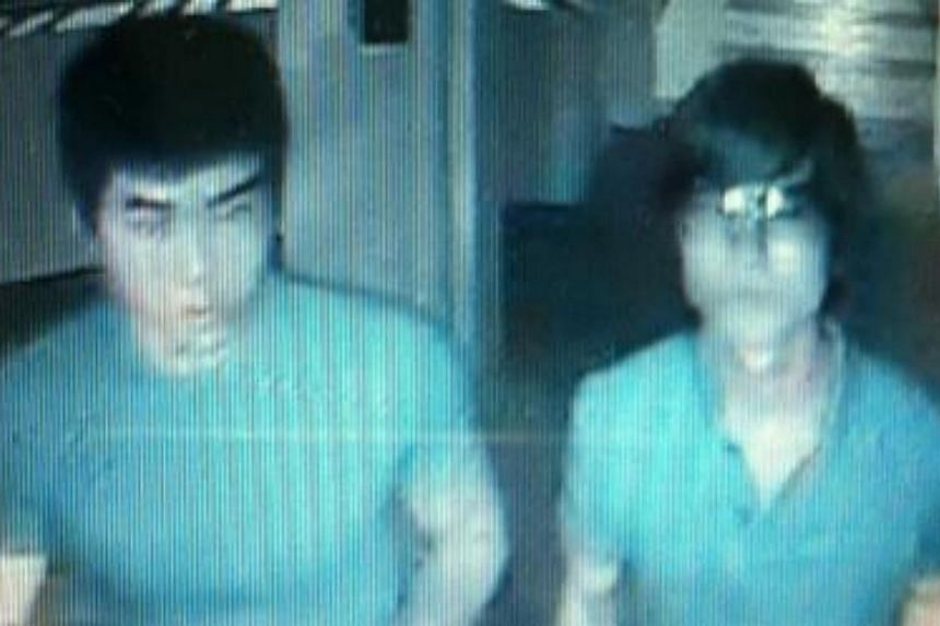 Police are appealing for information on the identity and whereabouts of the two male subjects shown in this CCTV screengrab, to assist with investigation into a case of loanshark harassment in the vicinity of Jalan Bukit Ho Swee on July 30 at about 8