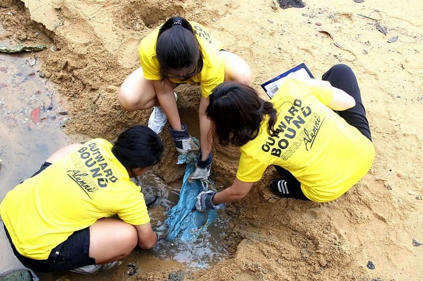 More than a ton of trash was cleared from the beaches of Pulau Ubin by 72 volunteers during a coastal clean-up operation organised by Outward Bound Singapore (OBS) Alumni on Saturday, Sept 7, 2013. -- PHOTO: OUTWARD BOUND SINGAPORE