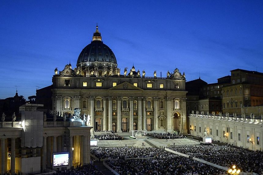 Pope Francis leads a mass in St Peter's squareat the Vatican on Saturday, Sept 7, 2013. -- PHOTO: AFP
