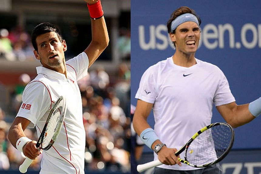 Novak Djokovic (left)andRafael Nadal will meet in the US Open final on Monday after the world's top two players reached the championship match in contrasting fashions on Saturday. -- PHOTO: AFP
