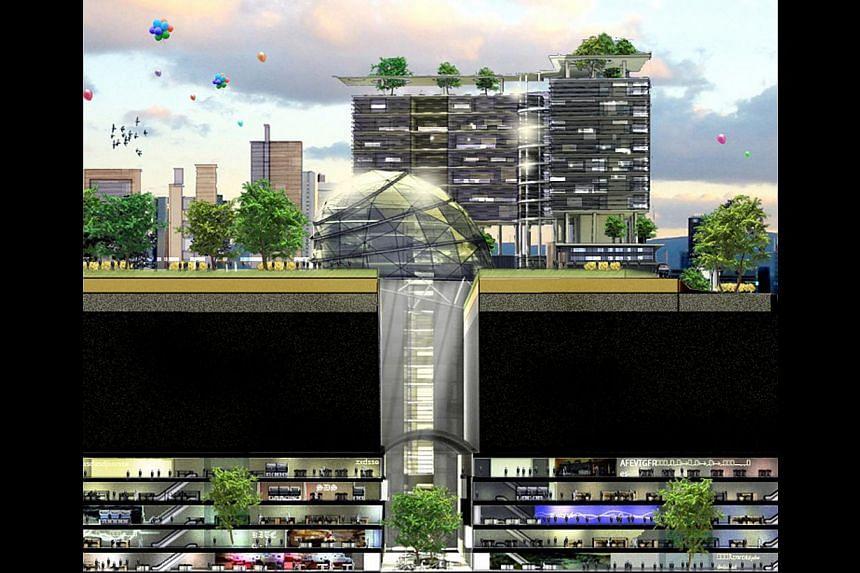 An artist's impression of the underground science city beneath Kent Ridge Park.