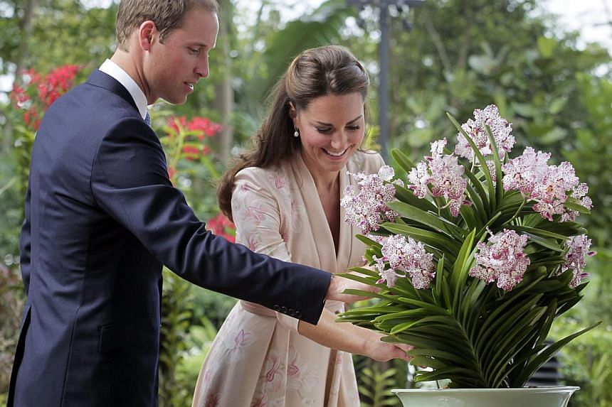 Prince William and his wife Catherine Middleton, the Duke and Duchess of Cambridge, with Vanda William Catherine, a white-and-purple orchid named in their honour at the National Orchid Garden of the Singapore Botanic Gardens on Sept 11, 2012.Th
