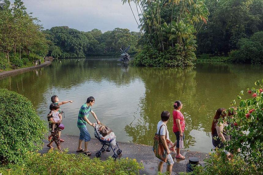 Visitors at the Singapore Botanic Gardens.The National Heritage Board and the National Parks Board are seeking public feedback ahead of their bid to make 154-year-old Singapore Botanic Gardens a Unesco World Heritage Site.-- STFILE