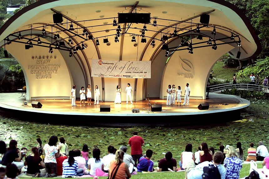 Members of United Nations Artists perform the song Gift Of Love at a concert of the same name at the Singapore Botanic Gardens' Shaw Symphony Stage.The National Heritage Board and the National Parks Board are seeking public feedback ahead of th