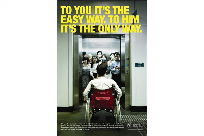 A campaign to raise awareness about the obstacles faced by the disabled as they go about their daily routine will be launched by the Disabled People's Association on Sept 16. The campaign will feature a series of posters (pictured) and a video of par